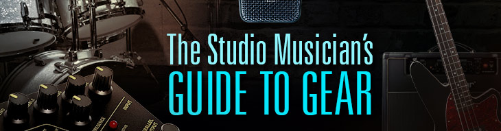 A selection of guitar, bass, drum, keys, MIDI and studio gear like mics, monitors, DAWs and more!
