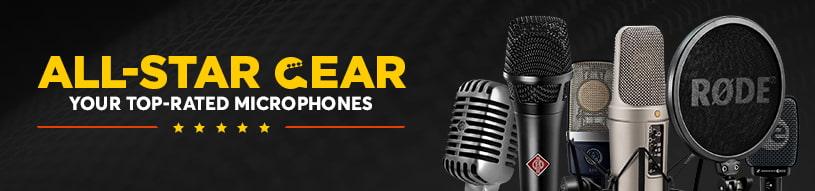 Top-rated microphones from Shure, Blue, Neumann, Audio-Technica, Avantone, AKG, Sennheiser & more!
