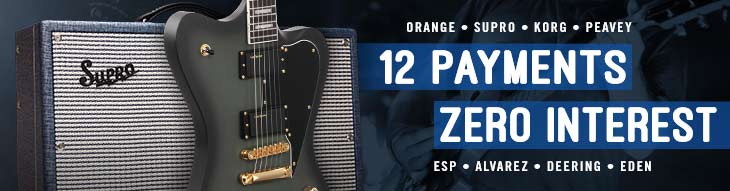 12 Monthly Payments & Zero Interest on Select Orange, Supro, Korg, ESP, Peavey and more!