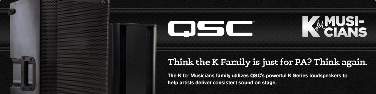 Learn how musicians use QSC K and KW series speakers for instrument amplification onstage.