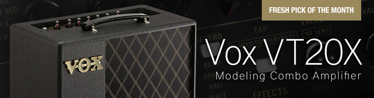 The Vox VT20X modeling amplifier offers 11 amp models plus a real tube in its preamp section.