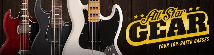 All-Star Basses from Fender, Epiphone, ESP LTD, Schecter, Ibanez and more!