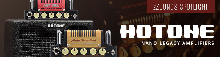 Hotone Nano Legacy Amps: Mojo Diamond, Heart Attack, Thunder Bass, and mini cabinet