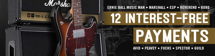 12 Monthly Payments & Zero Interest on Select Ernie Ball Music Man, ESP, Korg, Marshall, and More!